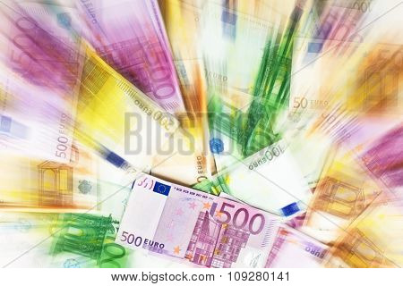 Money abstract background. Different paper bills of euro currency