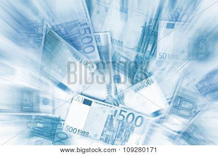 Blue Euro money. Bank notes arrangement of EU currency