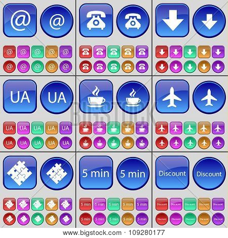 Mail, Retro Phone, Arrow Down, Ua, Coffee, Airplane, Puzzle, 5 Minutes, Discount. A Large Set Of