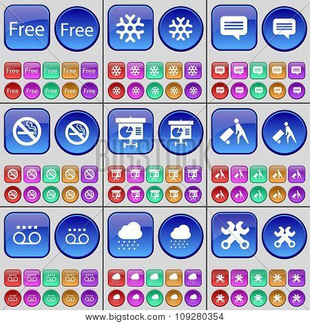 Free, Snowflake, Chat Bubble, No Smoking, Diagram, Delivery, Cassette, Cloud, Wrench. A Large Set