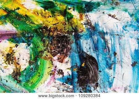 Paint strokes on paper in vibrant colors. Colorful background