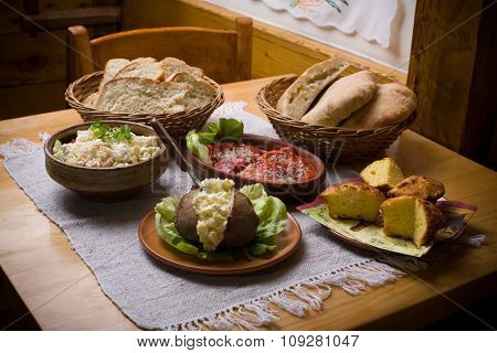 Traditional balkan food on table. Healthy eating concept