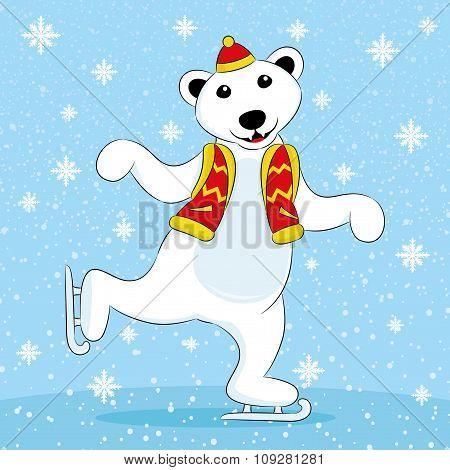 Polar bear skating.