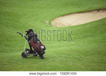 Golf cart on the grass. Golfing concept background