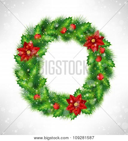 wreath with holly, pine and poinsettia on grayscale