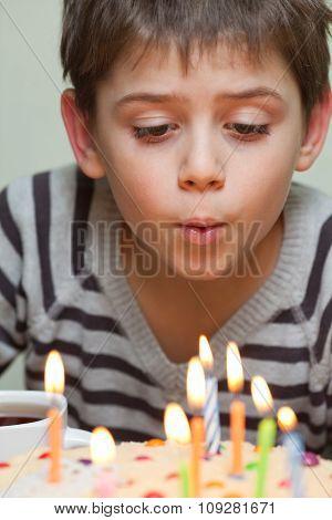 Cute Boy At Birthday Cake
