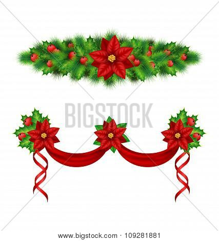 garlands with poinsettia, holly, pine on white