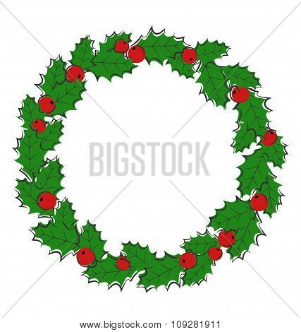 Flat Christmas wreath with holly sprigs isolated on white