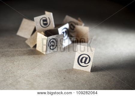 Email communication concept. Many e-mail symbols