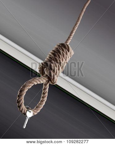 House keys hanging on a hangman noose. Digital background