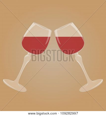 Two glasses with red wine mirrored on brown
