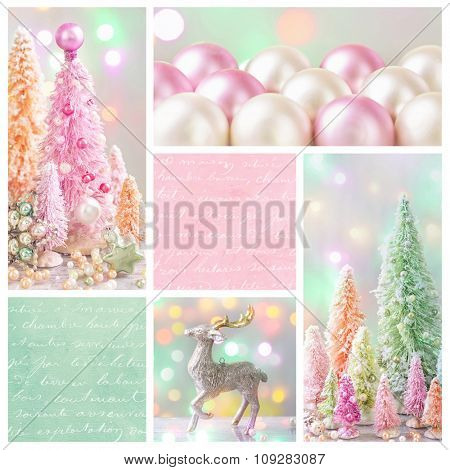 Pastel colored christmas decoration collage