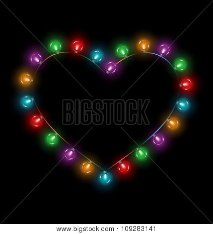 Multicolored glassy lights like heart frame isolated on black