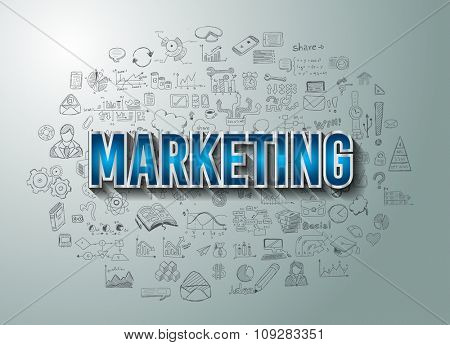 Marketing Success with Doodle design style :finding solution, brainstorming, creative thinking. Modern style illustration for web banners, brochure and flyers.