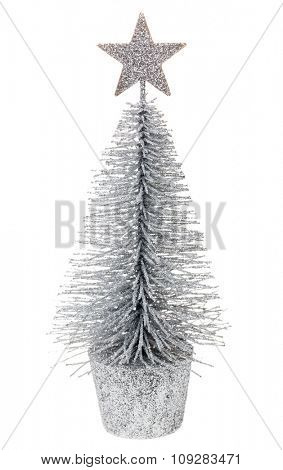Small tabletop Christmas tree on white background