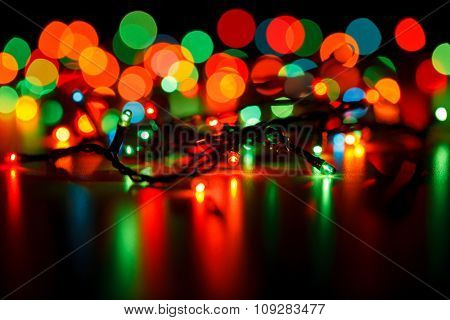 Christmas lights with blurred background