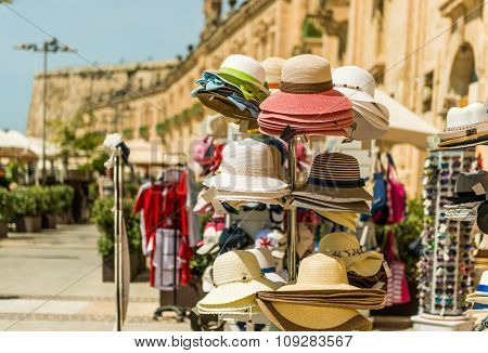 Souvenir stands  in Valletta - the capital of Malta