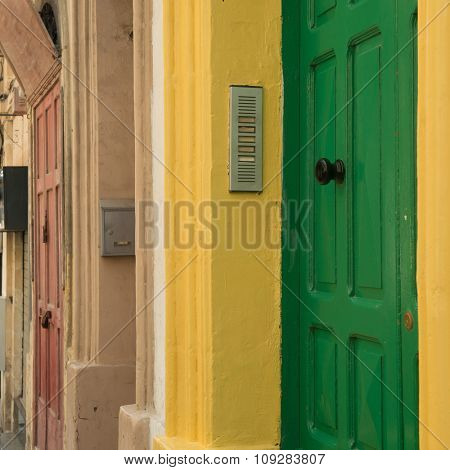 cityscape with colorful doors in Valletta, Malta