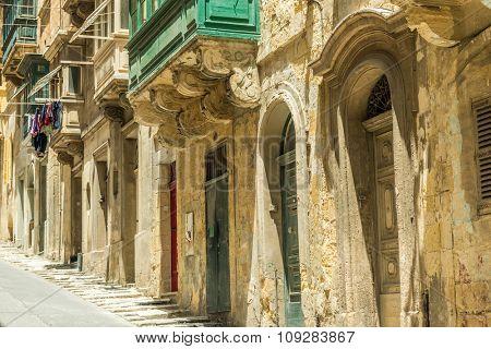 cityscape with old doors in Valletta, Malta