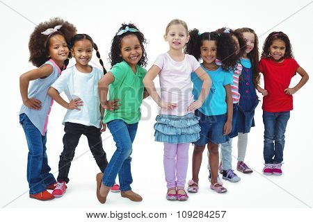 Smiling girls all standing together against a white background