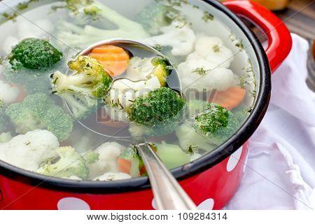 Vegetarian food - vegetable soup close up