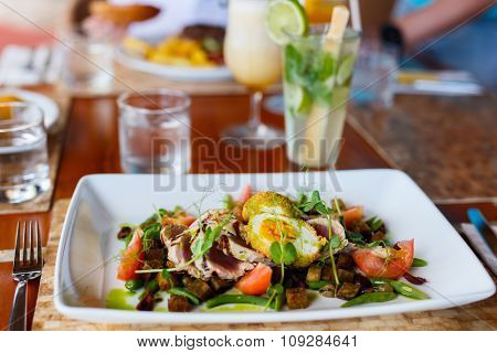 Delicious raw tuna salad served for lunch