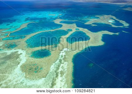 Beautiful view of Palau islands and reef from above