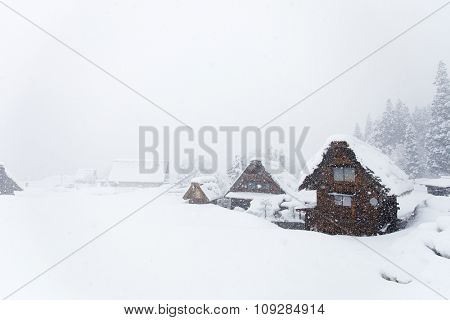 Historic Japanese village Shirakawa-go at winter, travel landmark of Japan