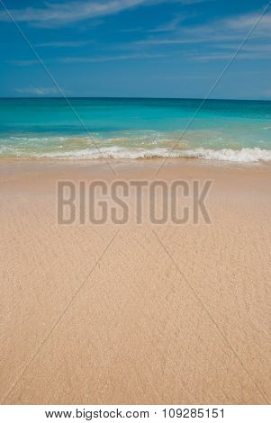 The blue sea and blue sky on the beach Dreamland in Bali, Indonesia.
