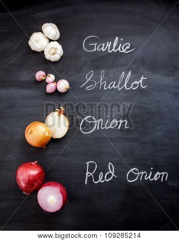 Garlic, Shallot, Onion, And Red Onion On Black Board