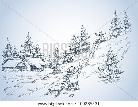 Winter background, children at play in the snow, pine forest sketch