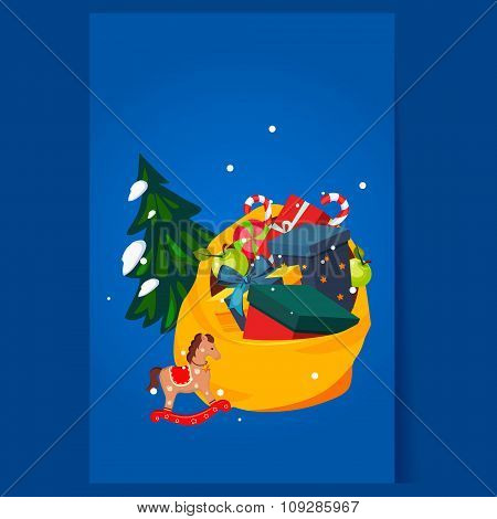 Toy Bag Full of Gifts and Christmas Tree. Holiday Vector