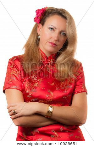 Woman In Red Chinese Dress Cheongsam