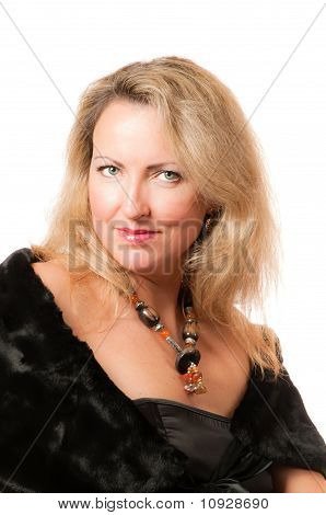 Attractive Blond Caucasian Woman With Big Necklace Around Her Neck