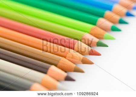 Colourful pencil isolated on white