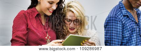 People Friendship Togetherness Digital Tablet Technology Concept