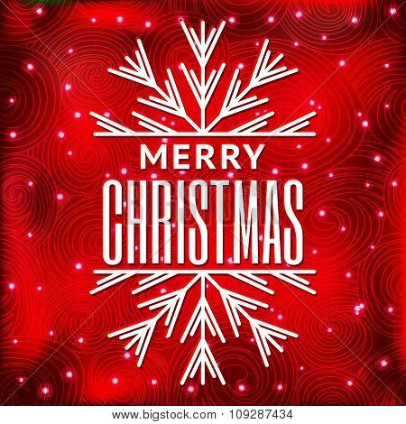 Merry Christmas message and red background with snowflakes.