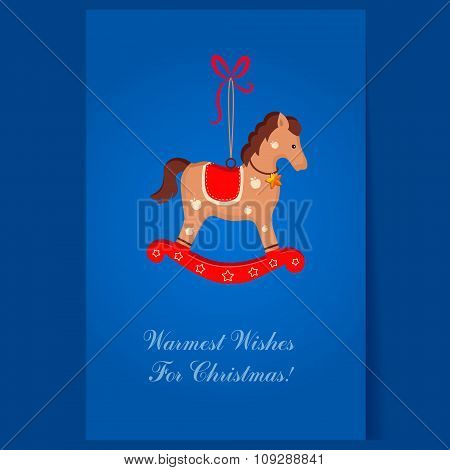 Christmas toy rocking horse greeting card with text