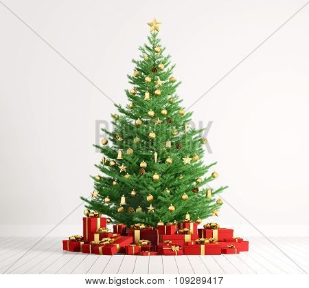 Interior Of A Room With Christmas Tree Over White Wall 3D Render