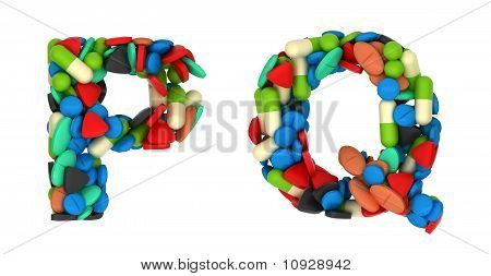 Pharmacy Font P And Q Pills Letters