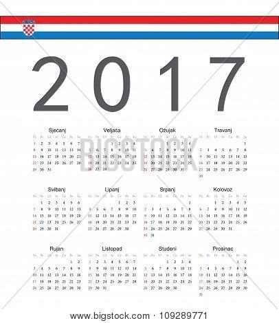 Square Croatian 2017 Year Vector Calendar