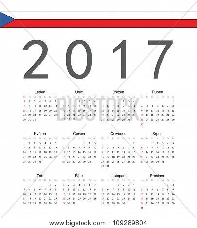 Square Czech 2017 Year Vector Calendar