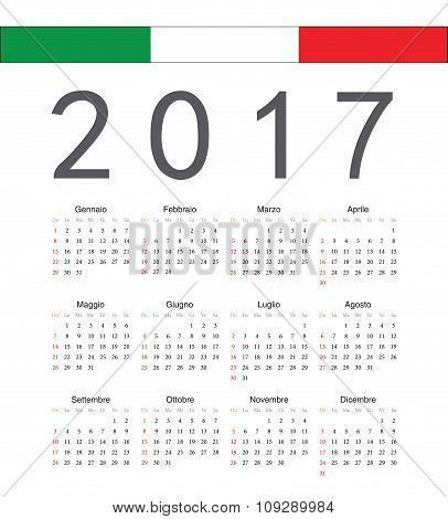 Square Italian 2017 Year Vector Calendar