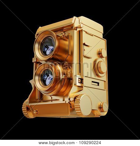 Illustration Of A Gold Photo Camera. Isolated