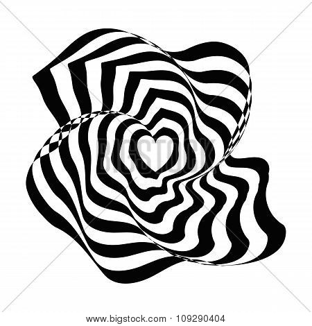 Geometric optical illusion black and white abstract heart on a white background. Vector illyustratio