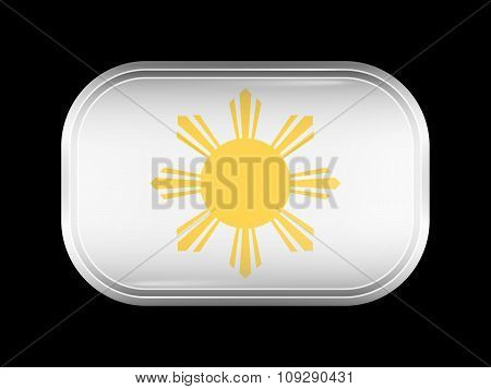 Philippines Variant Flag. Rectangular Shape With Rounded Corners