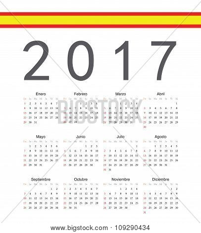 Square Spainish 2017 Year Vector Calendar