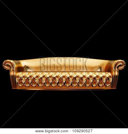 Illustration Of A Gold Sofa. Isolated