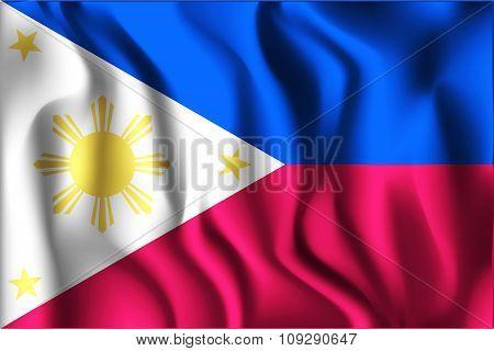 Flag Of Philippines. Rectangular Shape Icon