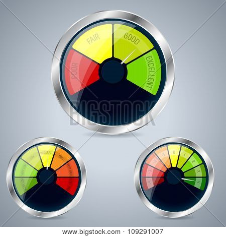 Rating Meter Design Set Of Three